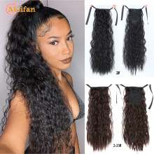 MEIFAN Long Afro Kinky Curly Ponytail Synthetic Hair Pieces Ribbon Drawstring Clip on Ponytail Hair Extensions False Hair Pieces(China)