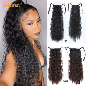 MEIFAN Hair-Extensions Ponytail Ribbon False-Hair-Pieces Clip-On Corn-Curly Drawstring