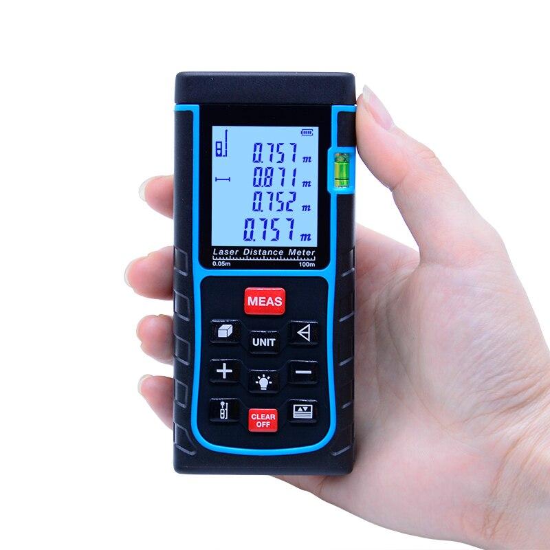 SNDWAY 100M laser Rangefinder Distance Meter Digital Laser Range Finder Area-volume-Angle measuring tester tools SW-E100 high quality new gm100d photoelectric laser distance meter volume tester 100m range finder