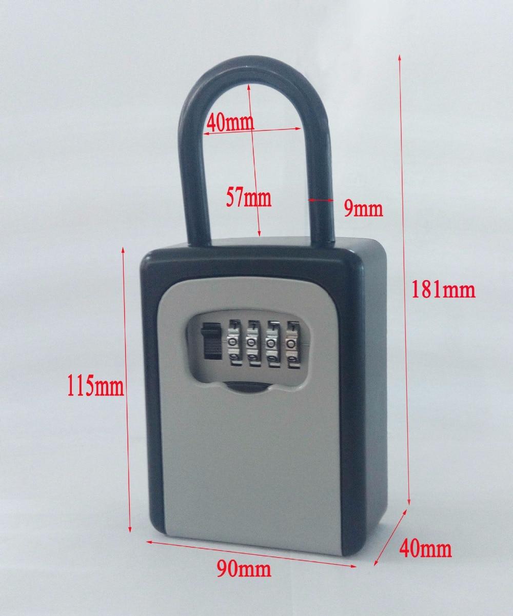 Outdoor Key Safe Box Keys Storage Box Padlock Use Four Password Lock Alloy Material Keys Hook Security Organizer Boxes