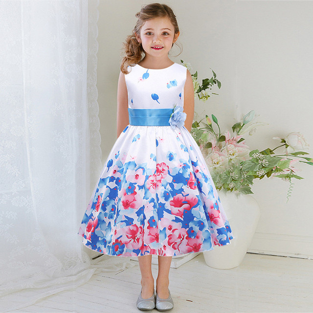 Miúdos bonitos Elegante Sem Mangas Cinto de Impressão Vestido Da Menina de Flor Da Princesa Bola vestido Estampado Vestido de Roupas Para Crianças de 3 a 12 Anos de Idade crianças