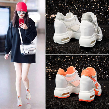 Dumoo 2018 Super High Heel 10cm Lady Casual White Shoes Women Sneakers Leisure Platform Shoes Breathable Height Increasing Shoes
