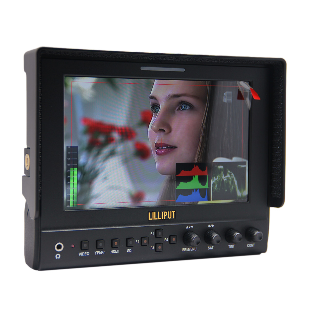 Lilliput 663/S2,7 Inch LED Field Monitor With 3G-SDI, HDMI,YPbPr (Via BNC), Composite Video And Sun Hood. Optimised For Full HD new aputure vs 5 7 inch 1920 1200 hd sdi hdmi pro camera field monitor with rgb waveform vectorscope histogram zebra false color
