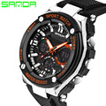 2017 New SANDA Men Sport Watches Military Style Watch Silicone Band Digital Watches Dual Display Watches Relogios Masculinos