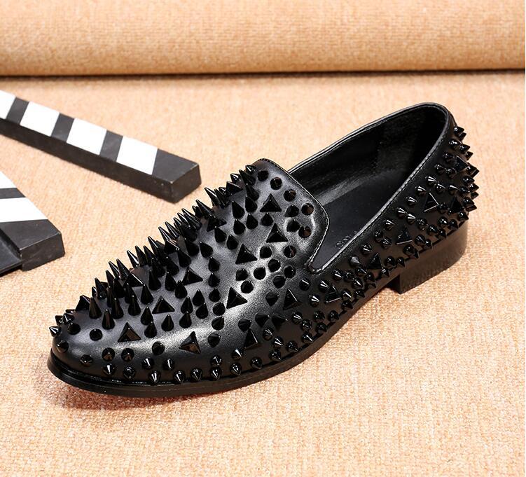 2018 Noir Brochettes Des Sur Choix Or Plates gris Grand Hommes 46 Chaussures Mocassins Size38 Rivet Mode Glitter Glissement rxrCXaqz