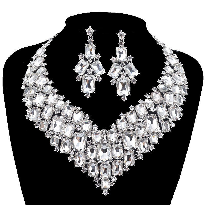 Luxurious Dubai style Wedding Jewelry Sets Rhinestone Crystal Bridal silver Necklace earrings Sets Women party Dress Jewelry