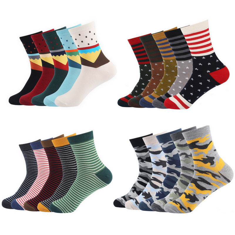 5Pairs EUR39-44 autumn winter men 19 design fashion creative cotton socks male colorful geometry patterns socks funny s306