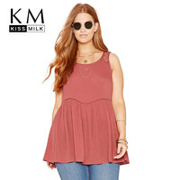 Kissmilk 2017 Plus Size Women Clothing Fashion Hollow Out Sexy Shirt Solid Lace Backless Big Large
