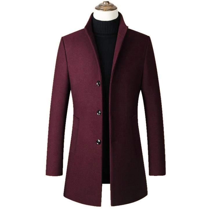 2019 Fashon Men's Long Cotton Collar Trench Coats Dropshipping Men Wool Jacket Men's Casual Wool Coat Slim Collar Wool Coat