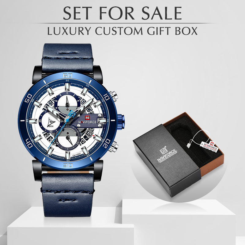 NAVIFORCE Mens Sports Watches Men Top Brand Luxury Leather Quartz Automatic Date Clock Male Army Military