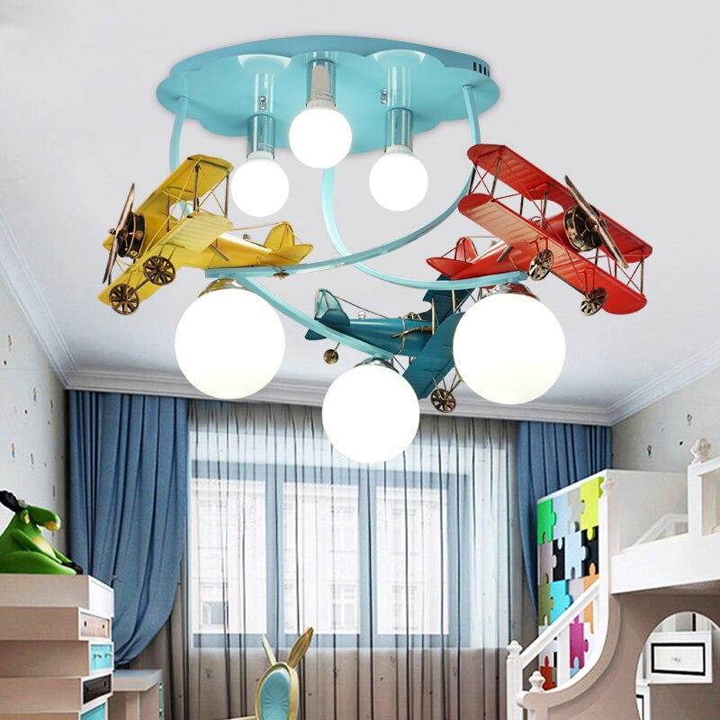 Modern Airplane Ceiling Light Creative LED Cartoon Lamps For Boy Children Bedroom Kid Room Art Deco Light Nursery Eye Protection