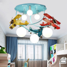 Modern airplane ceiling light creative LED cartoon lamps for boy children bedroom kid room art deco nursery Eye protection