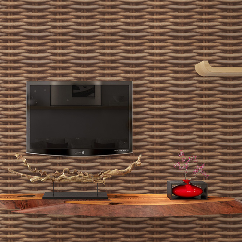 Chinese Vintage Style 3D Stereo Simulation Rattan Wicker Wallpaper For Wall Tea House Restaurant Study Room Backdrop Wall Decor