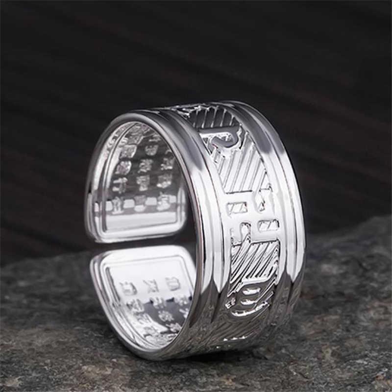 """KOFSAC tibetano 925 anillos de bendición giratorios de plata para hombres mujeres joyería de la suerte """"Om Mani Padme Hum"""" Sanskrit budista anillo Mantra"""