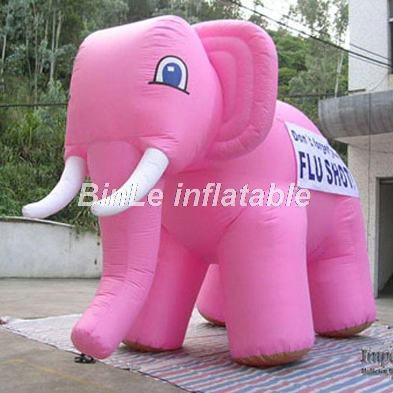 Éléphant gonflable rose de grande qualité bon marché avec le modèle de jouet d'animal de longues dents pour l'affichage