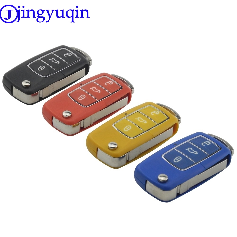 jingyuqin 3 Button Uncut Blade Remote Folding Car Key Case Blade For VW Jetta Beetle Car Key Shell Replacement Keyless With Logo jingyuqin flip cnc uncut cut blade key shell for chevrolet cruze remote key case keyless fob 3 button include cutting blade