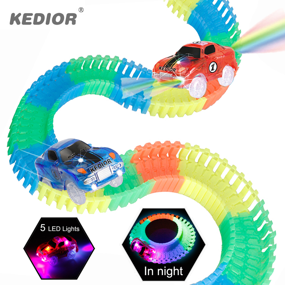 Race Track Car Hot Wheels Glowing DIY Slot Led Battery Electric 1:64 Model Mini Rail Car Toys for Children Boys Gift