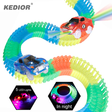 Race Track Car Hot Wheels Glowing Lighting DIY Slot Led Battery Electric 1:64 Model Mini Rail Car Toys for Boys