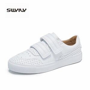Image 1 - Женские кроссовки SWYIVY, Белые Повседневные кроссовки на платформе, с петля на заднике кроссовок и петлей, осень 2019
