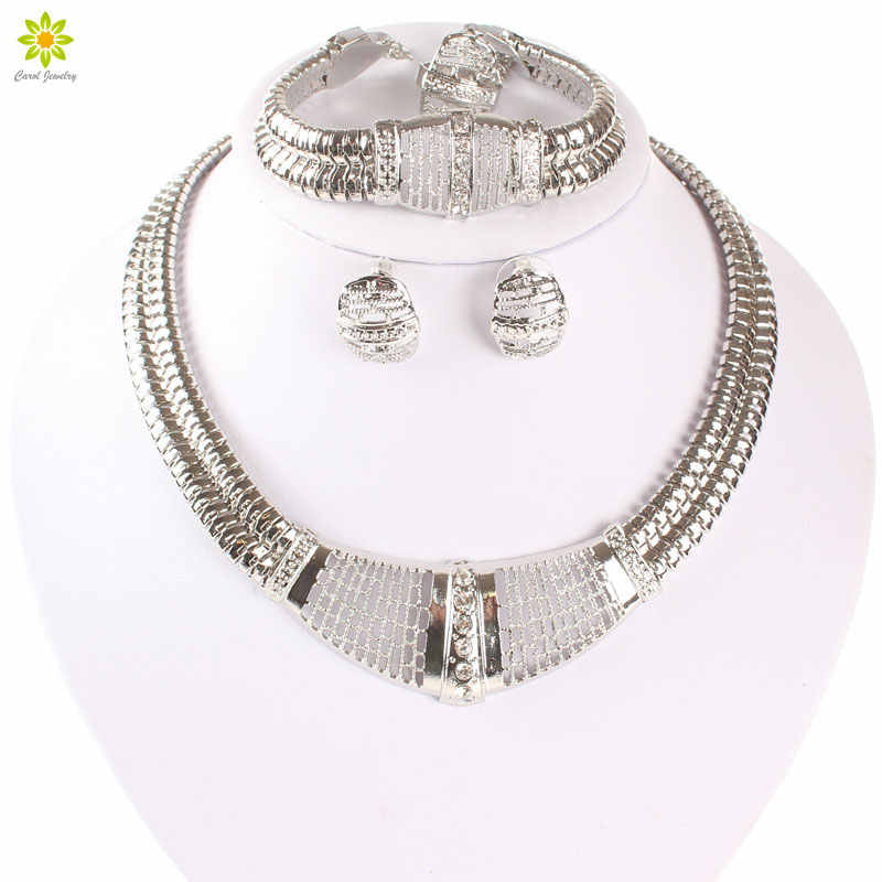 Silver Plated Dubai African White Crystal Necklace Bracelet Earring Ring Wedding/Bride Jewelry Sets