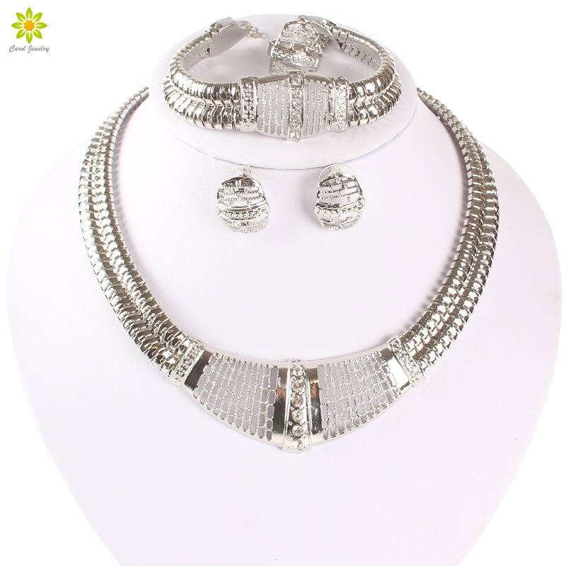 Schmuck & Zubehör Clever Silber Überzogene Afrikanische Dubai Weiß Kristall Halskette Armband Ohrring Hochzeit/braut Schmuck Sets Exquisite Handwerkskunst; Brautschmuck Sets
