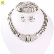 Silver Plated Dubai African White Crystal Necklace Bracelet Earring Ring Wedding/Bride Jewelry Sets(China)