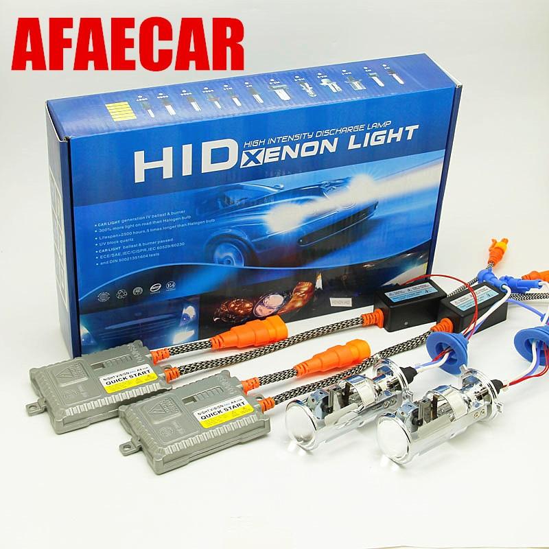 Ampoules bi-xénon AFAECAR 55 W H4 HID ampoule lampe faisceau Hi/Lo avec Mini kit de phares de lentille de projecteur