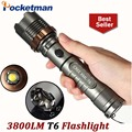 3800lm CREE XM-L T6 5 modes LED Tactical Flashlight Torch Waterproof Hunting Flash Light Lantern zaklamp taschenlampe torcia