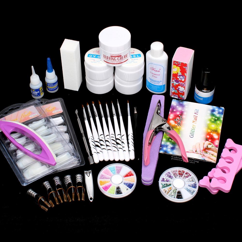 24 in1 Nail Art UV Gel Tips Top Coat Glue Decorations Full DIY Tools Set #63set