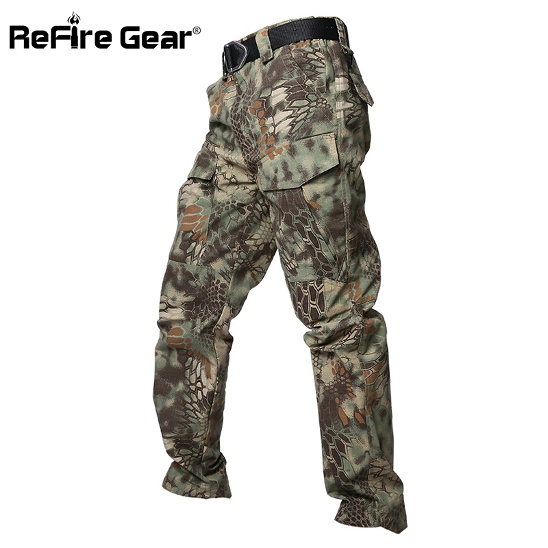 ReFire Gear Python Camouflage Tactical Pants Men Waterproof Rip-Stop Army Military Pants SWAT Many Pockets Cotton Cargo Trousers