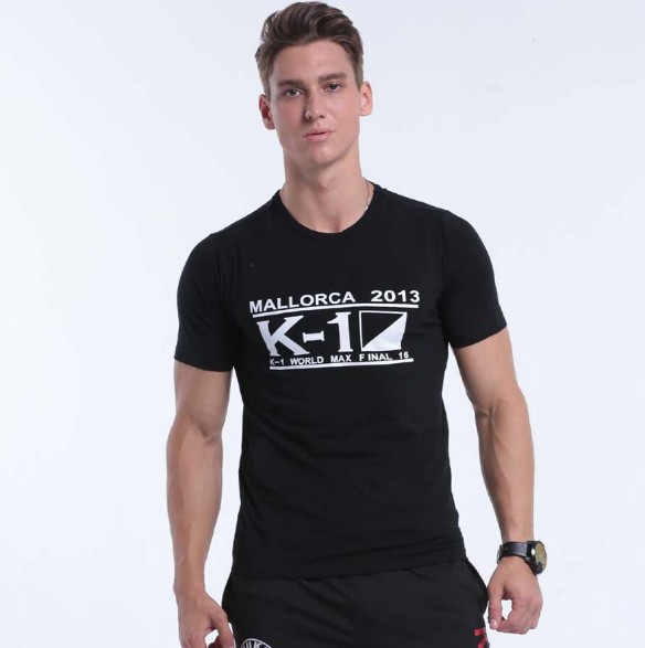 K101 Men's Pure Cotton Short Sleeve Round Collar Slim Tight T Shirt Fashion Seeding For Chinese Fitness Clothes