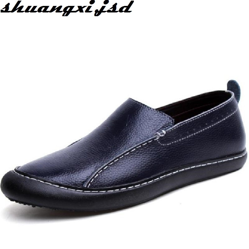 Genuine Leather Men Shoes Handmade Top Quality Man Flats Shoes Driving Zapatos Hombre Solid Casual Sleeves