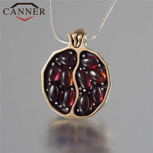 CANNER Retro Creative Natural Stone Pomegranate Necklace Vintage Gold Color Chain Pendnat Necklaces for Women Jewelry THN