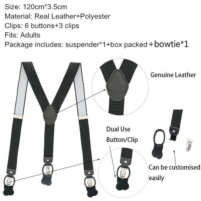 Dual Clip/button Suspender Set Male Men's Dot Point Strap Button Braces Father Husband Gift Box