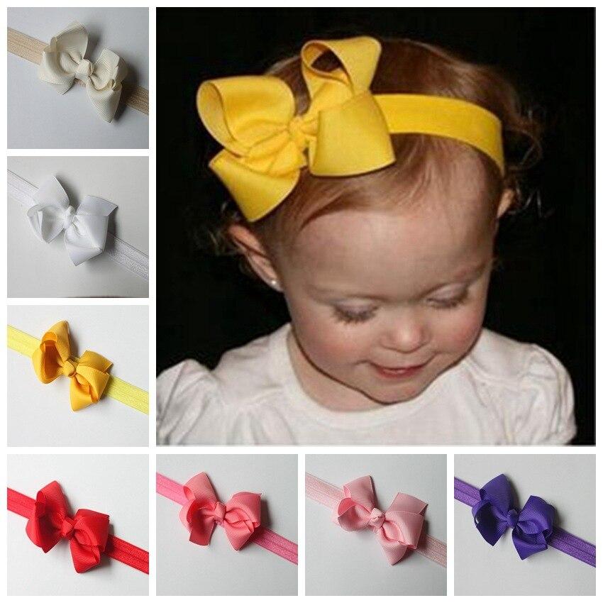 Children Hair Bow Headband DIY Grosgrain 3inch Ribbon Bow Elastic Hair  Bands For Newborn Toddler Hair Accessories 20 colors-in Hair Accessories  from Mother ... 66c4c900dbf
