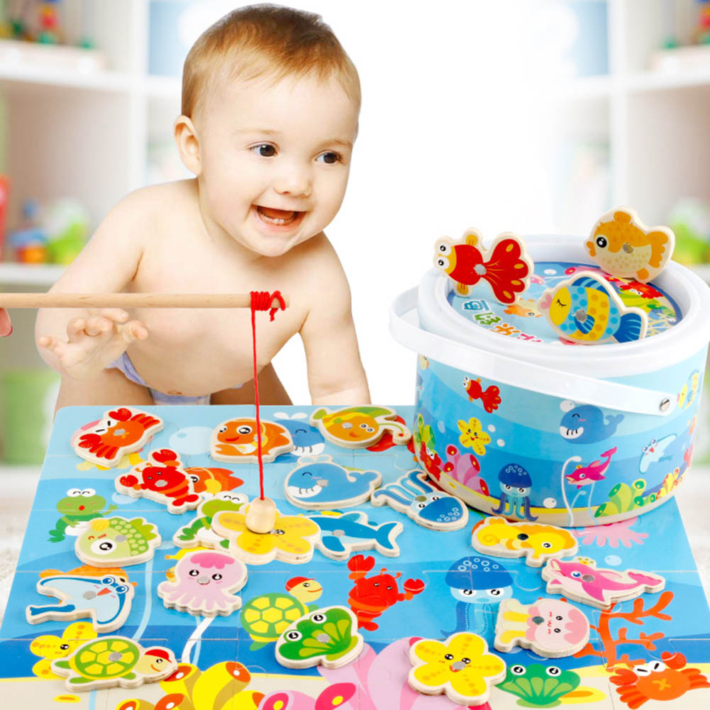 Realistic Baby Educational Toys Fish Wooden Magnetic Fishing Toy Set Fish Game Educational Fishing Toy Child Birthday/christmas Gift With The Most Up-To-Date Equipment And Techniques Outdoor Fun & Sports Fishing Toys