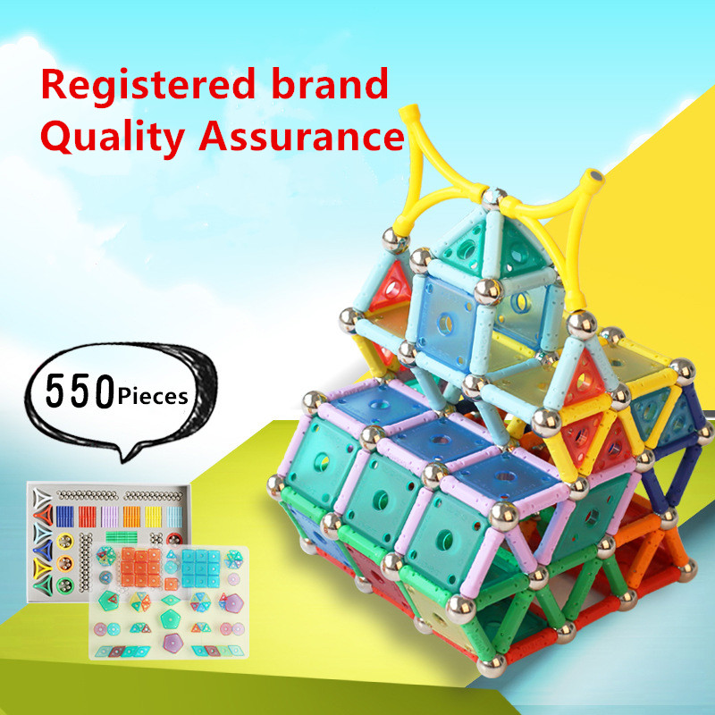 Tensoger 550 Pics Intelligence Magnetic Stick Childrens Educational DIY Toys Magnet Building Blocks Magnetic Building Blocks ...