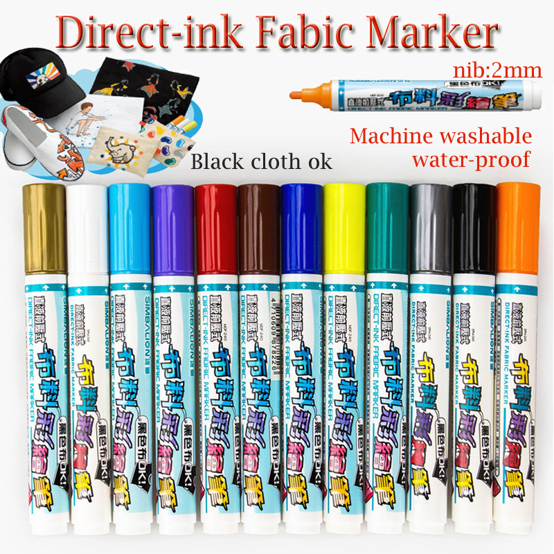 simbalion Machine Washable clothes markers WATER RESISTANT direct-ink fabric marker fine piont nib 2mm colored permanent markers цена