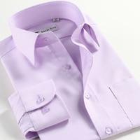 2017 100% cotton Long Sleeve Formal Dress Men Shirts Solid Office Work Wear Clothing Summer Slim Fit Big Size XS 5XL 6XL