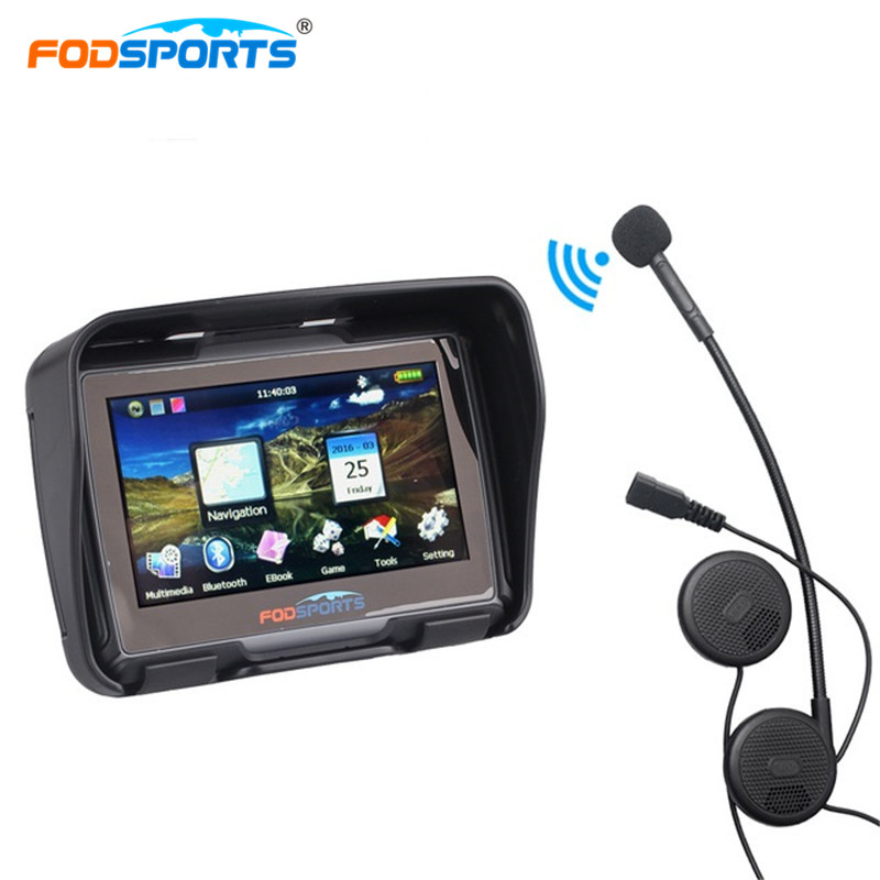 Fodsports 4 3 Inch motorcycle navigation motorbike 256MB 8GB IPX7 GPS navigator waterproof with bluetooth headset