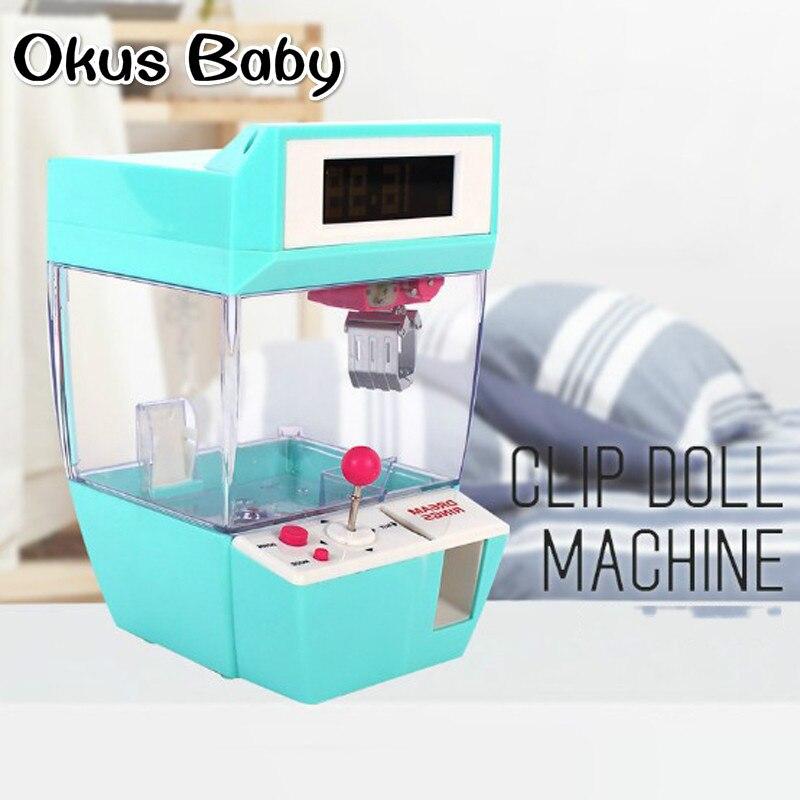 2018 plus récent monnayeur bonbons Grabber poupée bonbons receveur grue Machine + réveil jeu de société partie jouets amusants