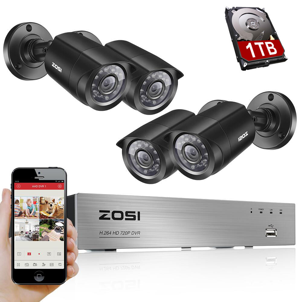 ZOSI 8CH CCTV System 4PCS 1280TVL Outdoor Weatherproof Security Camera 8CH 720P DVR Day Night DIY
