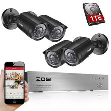 ZOSI 4CH CCTV System 4PCS 1500TVL Outdoor Weatherproof Security Camera 4CH 720P DVR Day/Night DIY Kit Video Surveillance System