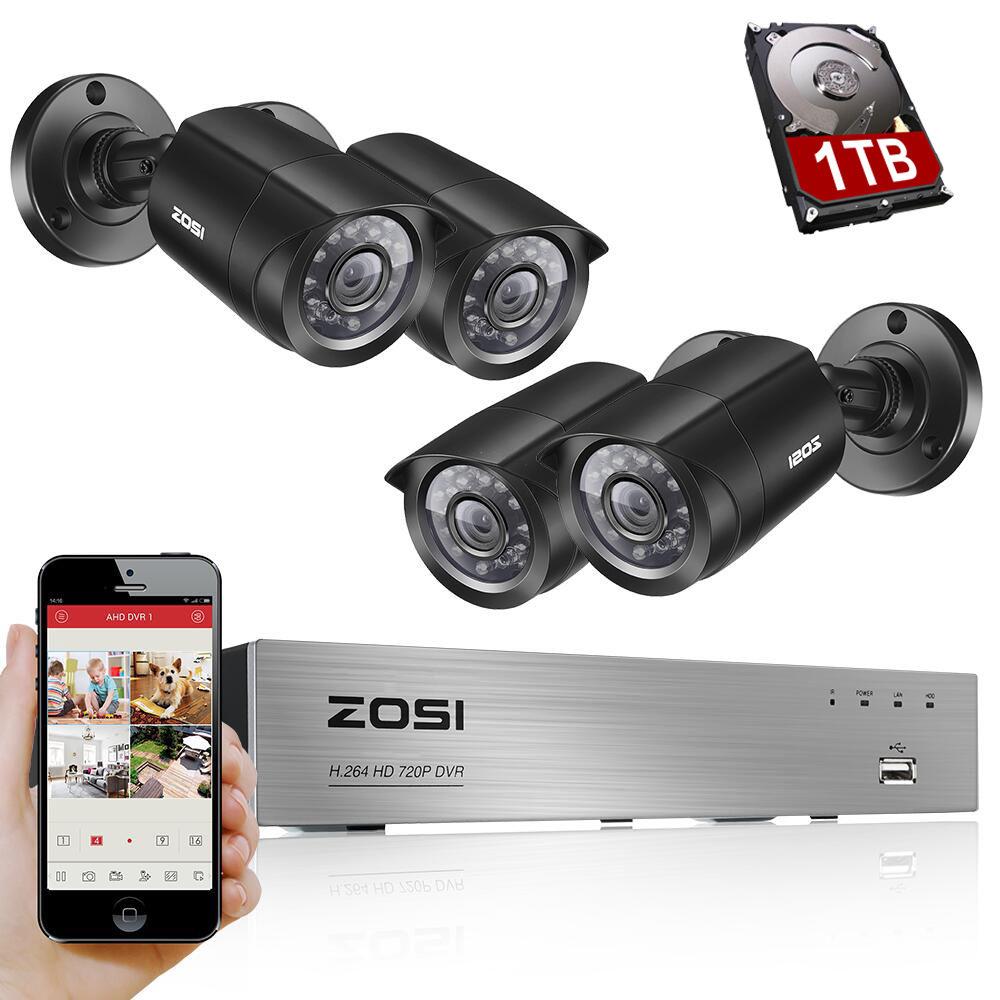 ZOSI 8CH Sistema CCTV 4 PZ 1280TVL Esterni, impermeabile Telecamere di Sicurezza 8CH 720 P DVR Giorno/Notte Kit FAI DA TE Sistema di Videosorveglianza