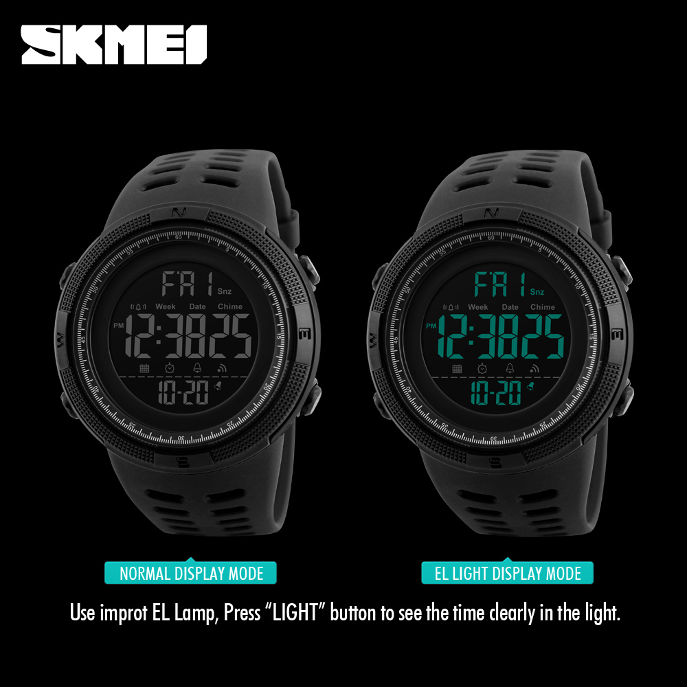 SKMEI Relogio Masculino Mens Watches Luxury Sport Army Outdoor 50m Waterproof Digital Watch Military Casual Men Wristwatches New 3