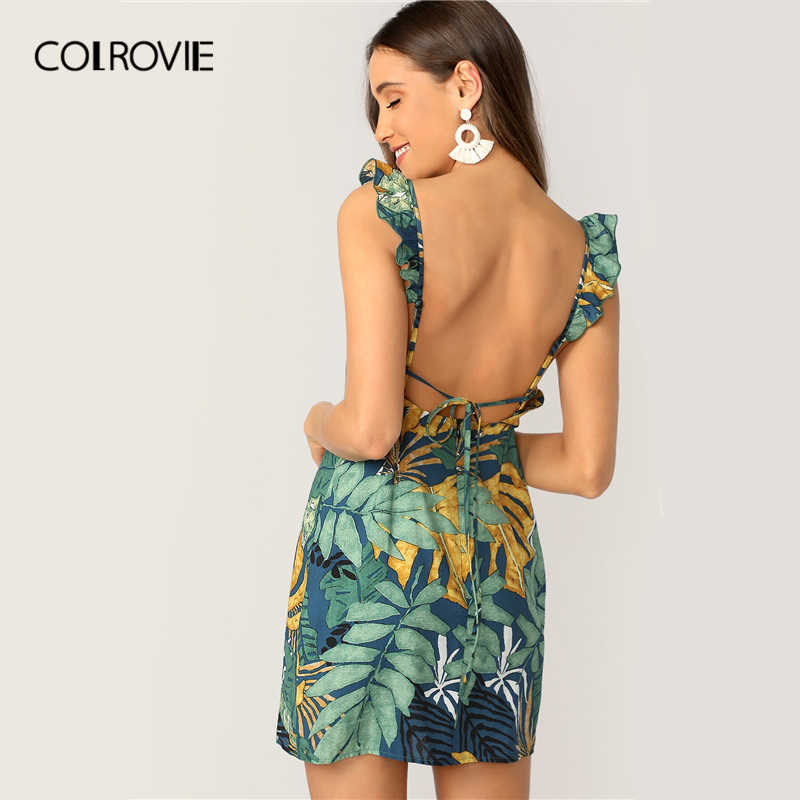 COLROVIE Backless Tie Back Tropical Print Ruffle Strap Boho Short Dress Women 2019 Summer Sleeveless Holiday Sheath Mini Dresses