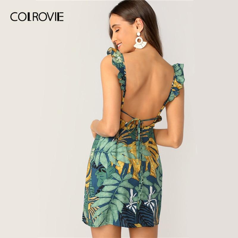 COLROVIE Backless Tie Back Tropical Print Ruffle Strap Boho Short Dress Women 2019 Summer Sleeveless Holiday Sheath Mini Dresses
