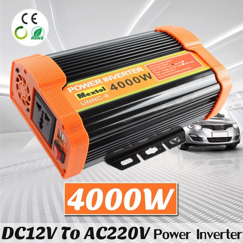 4000W Power Inverter 12 V to AC 220 Volt Modified Sine Wave Converter Car Charge Converter Auto Transformer Max 8000 Watt 2 USB 12tq040 to 220 2