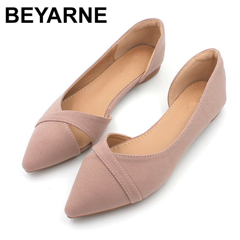 BEYARNEFashion Casual Flat Shoes Woman New Summer Breathable Comfortable Soft-soled Shoes Pointed Toe Shallow Flat Women Shoes