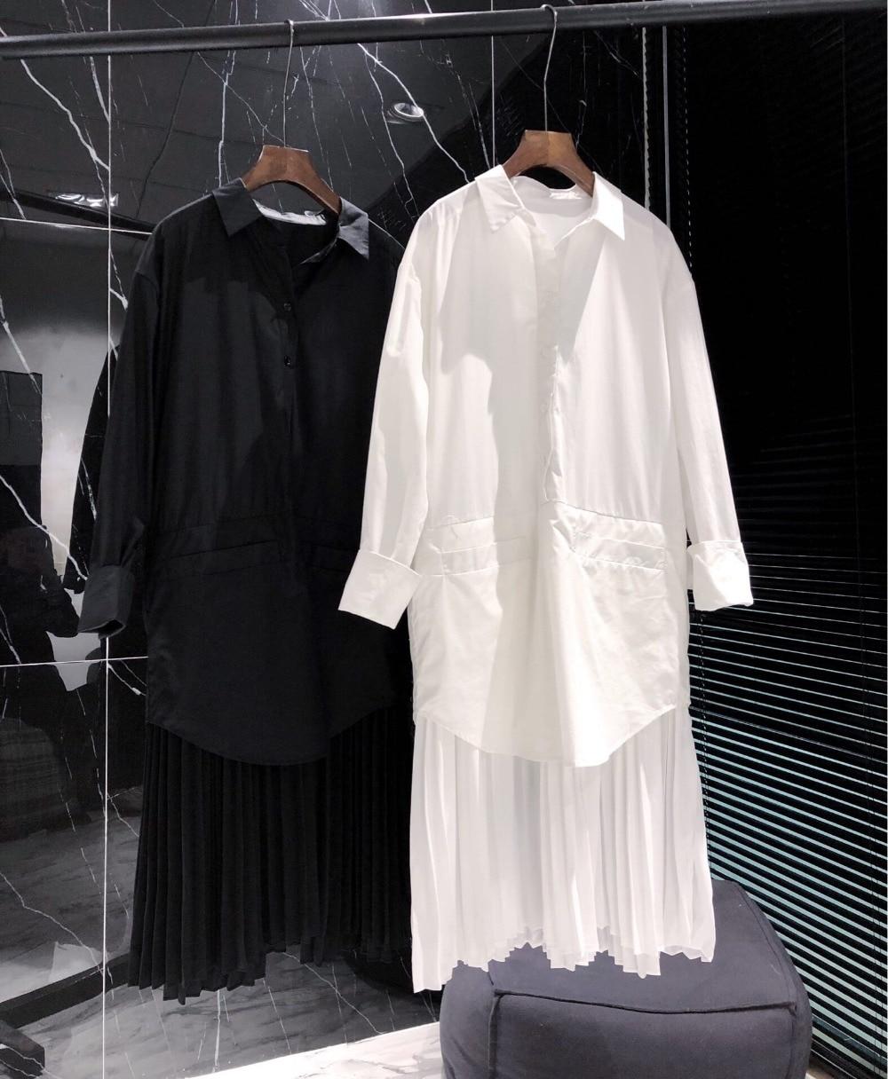 À Décontracté Manches Ddxgz3 Robe Couleur Nouveau Femmes Longues 2 Plissée 2019 Printemps T53ul1JKFc